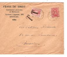 PR6023/ TP 138 S/L.Entête Frans De Smidt Entreprises Batiments C.Knocke 17/12/19 Griife T V.BXL Taxée 10c Par TP 138 - Taxes