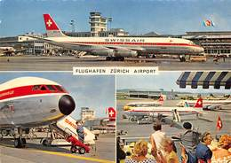 "D8619 ""AEREO COMPAGNIA SWISSAIR - FLUGHAFEN ZURICH AIRPORT"" ANIMATA.  CART SPED 1962 - Aerei"