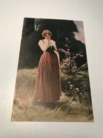 Lady Sad Crying Signed Art Painting Deutsche Kunst Schrödter Berlin Gustav Liersch 9051 Post Card Postkarte POSTCARD - Peintures & Tableaux