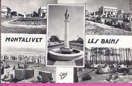 33 --    MONTALIVET LES BAINS -- MULTI VUES  -- JOLI PLANS -- CARTE PHOTO -- 1956 - France