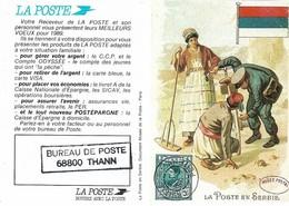 Calendrier Petit Format Année 1989 - LA POSTE - Illustration Du Musée Postal. Jamais Plié (2 SCANS). - Calendriers