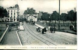 N°65381 -cpa Chalon Sur Saône -pont De La Genise Et La Grande Rue St Laurent- - Chalon Sur Saone