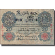 Billet, Allemagne, 20 Mark, 1910, 1910-04-21, KM:40b, TB+ - [ 2] 1871-1918 : Empire Allemand