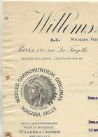 Facture Lettre 1911 / BELGIQUE BRUXELLES / WILLEMS & CREMER / Meules Carborundum / Maison à PARIS - Belgien