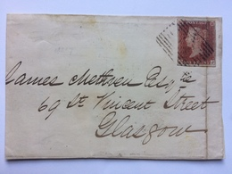 GB - Victoria 1845 Wrapper Airdrie To Glasgow - Lovely 3 Line Rectangular Marks - See Rear - 1840-1901 (Victoria)