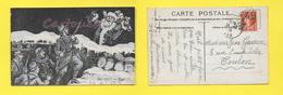 GUERRE 1914/18 - Soldats Français, Noël Dans Les Tranchées Père Nöel Illustrateur  F. C. ( Peu Courante ) - Guerra 1914-18