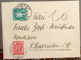 SCHWEIZ SUISSE 1944: Streifband 5c Mit Porto Nr.55 Von ENNENDA 20.X.44 Nach SCHWANDEN 21.X.44 GLARUS - Portomarken