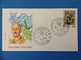 1974 BUSTA PRIMO GIORNO FDC ROMA - GIACOMO PUCCINI - 1946-.. République