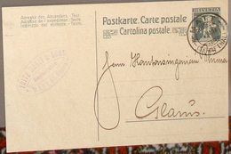 SCHWEIZ SUISSE 1918: Postkarte 7 1/2c Mit Stempel MATT 4.IV.18 (SERNFTHAL) Nach Glarus - Entiers Postaux