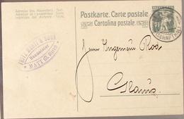 SCHWEIZ SUISSE 1920: Postkarte 7 1/2c Mit Stempel MATT 4.VI.20 (SERNFTHAL) Nach Glarus - Entiers Postaux