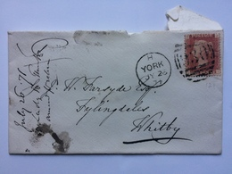 GB - Victoria 1871 Cover - York Duplex To Whitby From Sheriff Hutton Park Tied With 1d Red Plate 121 - Covers & Documents
