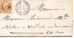 """Cote D'or -N°21 Obl GC 4536  + T 22 Villaines - En - Duesmois Sur LAC + Boite Rurale """" B"""" = St Marc Sur Seine( - 1849-1876: Période Classique"""