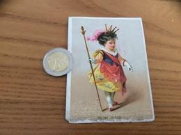 """Chromo, Ancien Calendrier 1876 """"Rubans Mercerie Ch. CHAUFFIER PARIS / REINE INDIGO"""" - Calendars"""