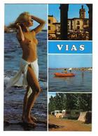 34 VIAS Sur Mer Vers Agde N°16740 En 3 Vues Et Belle Baigneuse Blonde Aux Seins Nus - Agde