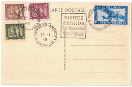 """1948 - OBLITERATION DAGUIN """" VISITEZ ANGKOR SES MONUMENTS ADMIRABLES """" CARTE POSTALE AFFRANCHISSEMENT MULTIPLE INDOCHINE - Briefe U. Dokumente"""