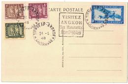 "1948 - OBLITERATION DAGUIN "" VISITEZ ANGKOR SES MONUMENTS ADMIRABLES "" CARTE POSTALE AFFRANCHISSEMENT MULTIPLE INDOCHINE - Covers & Documents"