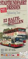 Deutschland Dresden Stadtrundfahrt Bus Doppeldeckerbus Faltblatt Doppelt 4 Seiten - Landkarten