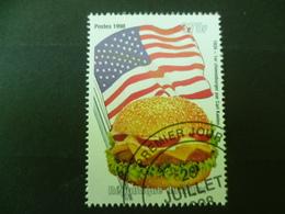 TIMBRE  HAMBURGER  DRAPEAU USA  FLAG TOMATE  FROMAGE   OBLITERE - Food