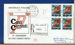 ITALIA - FDC  1968  - CONTI CORRENTI    -  QUARTINA  - - 1946-.. République
