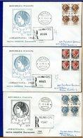ITALIA - FDC  1968  -  SIRACUSANA  Nuova Emissione Fluorescente - Raccomandate Con Timbri Arrivo  -  QUARTINA - 1946-.. République