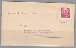 BRD, MiNr. 185 X Auf Portoger. Fernbrief Bis 20 G Burgdorf Nach Bonn; B-2129 - BRD