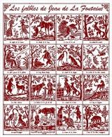 Diagramme Point De Croix  -marquoir Ancien -  16 Fables De Jean De La Fontaine (94) - Point De Croix