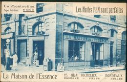 Carte Publicitaire - La Montouline - La Maison De L'Essence - Les Huiles Pen - Bordeaux