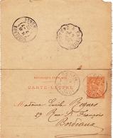 Entier Postal 1902 Belin Béliet Gironde Bordeaux Mouchon Cachet Convoyeur Hostens à Facture - Postwaardestukken