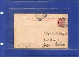 ##(DAN1810)-1909-Cartolina Postale Risposta Leoni Cent.10 Mill.08 Spedita Dall'estero, Copenaghen-Danimarca Per Milano - 1900-44 Victor Emmanuel III