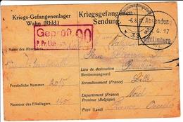 Prisonnier De Guerre 1917 WW1 Limburg An Der Lahn Censure Censor Kriegsgefangenenlager Wahn Geprüft - Guerre Mondiale (Première)