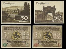 ALLEMAGNE . LOT DE 2 BILLETS DE 50 PFENNIG . STUTTGART . - [ 3] 1918-1933 : République De Weimar