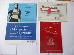 MONTPELLIER (34) : AIR FRANCE  Publicité Destinations (2008 - 2012) - Lot De 4 CPM - 2 Scans - Aviation