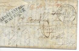 Lac  ARMEE EXPD D AFRIQUE En Bleu  Cad TOULON 2 JANV 1835 (texte Tronqué) Daté De BOUGIE - 1801-1848: Precursors XIX