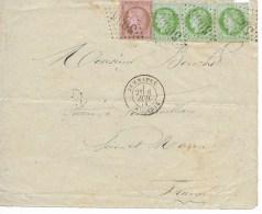 Devant De Lettre Cad  JEMMAPES (algerie) 6 Jiuil 1874  Pour La France 1tp Defectueux - Postmark Collection (Covers)