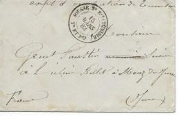 Env  Corps D 'occup Tunisie  Cad  SOUSSE 2eme Div  15 Mars 1883 Pour Le Jura  TTB - Postmark Collection (Covers)