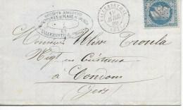 Lac Cad VALLERYSTHAL (meurthe)  19 Avril 1869 Pour CONDOM  En Tete Verrerie TTB - Postmark Collection (Covers)