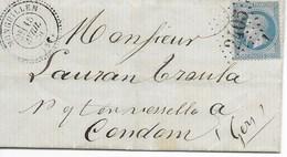 Lac Cad  MONGUILLEM T24  (gers)  15 Avril 1870  Pour CONDOM  TTB - Postmark Collection (Covers)