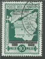 REPUBBLICA DI SAN MARINO 1943 CADUTA DEL FASCISMO POSTA AEREA AIR MAIL LIRE 10 USATO USED OBLITERE' - San Marino