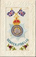 Carte Brodée Royal British Army Regiment Semper Fidelis.The Devonshire Regiment EXETER - Regiments