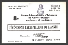 Cartophilie - 8e Bourse Internationale D'Echanges De Cartes Postales - Charleroi 1986 - Publicité - Bourses & Salons De Collections