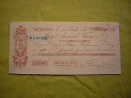 Chèque Illustré San Francisco 1881 De 14000 Francs - Chèques & Chèques De Voyage