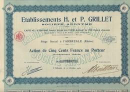 LOT DE 4 ACTIONS DE 500 FRS -ETABLISSEMENT H . ET P.GRILLET (PEPINIERES) L'ARBRESLE -RHONE -1930 - Agriculture