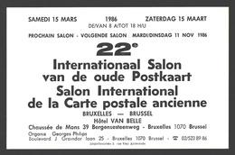 Cartophilie - 22e Internationaal Salon Van De Oude Postkaart - Brussel 1986 - Publicité - Bourses & Salons De Collections