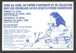 Cartophilie - Foire Du Livre, Du Papier D'antiquité Et De Collection - Liège 1986 - Publicité - Bourses & Salons De Collections
