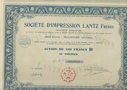 LOT DE 2 ACTIONS DE 100 FRS - SOCIETE D'IMPRESSION LANTZ FRERES -MULHOUSE - 1924 - Textil