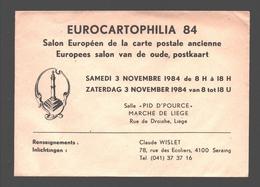 Cartophilie - Envelop/ Enveloppe Publicitaire - Eurocartophilia 84 - Liège - Salon Européen De La Carte Postale Ancienne - Bourses & Salons De Collections