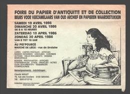 Cartophilie - Envelop / Enveloppe Publicitaire - Foire Du Papier D'antiquité Et De Collection - Liège - 1986 - Bourses & Salons De Collections