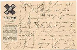 1891, Publicité Chocolat Suchard Recette Duchesse Au Chocolat, Côte Aux Fées, Entier Postal. SCHOKOLADE. CHOCOLATE - Enteros Postales