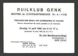 Cartophilie - Envelop / Enveloppe Ruilklub Genk - Munten- En Zichtkaartenbeurs 1985 St.-Jan Berchmanscollege - Bourses & Salons De Collections