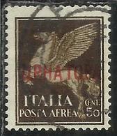 MONTENEGRO 1941 AEREA SOPRASTAMPATO D'ITALIA AIR MAIL ITALY OVERPRINTED 50 CENT. USATO USED OBLITERE' - 9. Occupazione 2a Guerra (Italia)